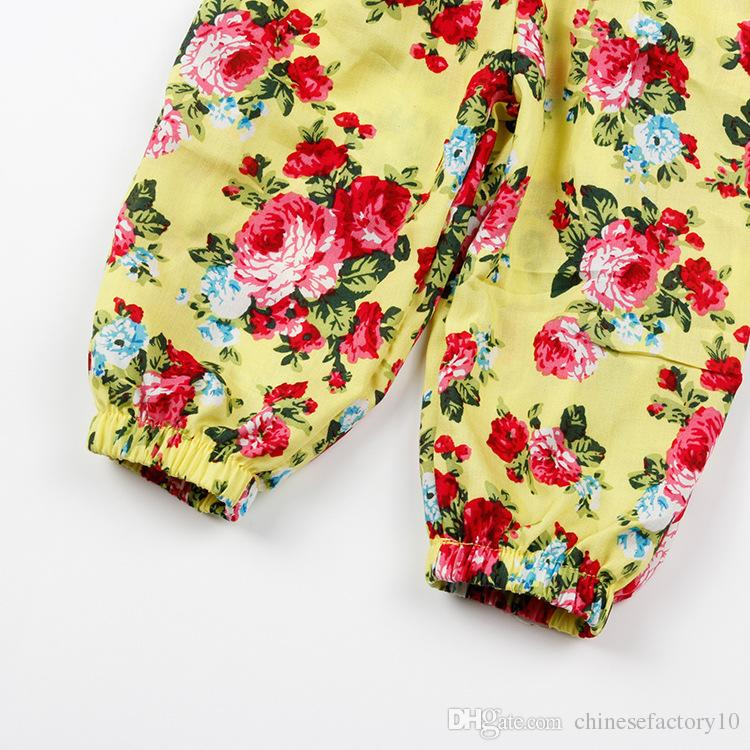 Verão INS Meninas Macacão Floral Crianças Suspender Calças Flor Pant Roupas Impressas Estilingue Macacão Para 3-8 Anos meninas