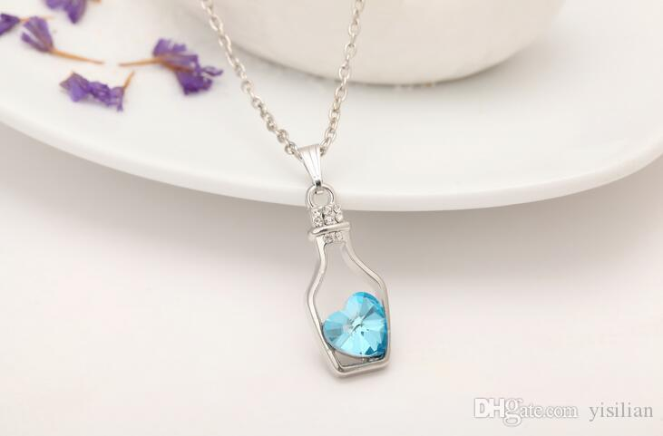 Women 's wish bottle necklace. Love drift bottle clavicle chain alloy crystal necklac YP051 Arts and Crafts pendant with chain