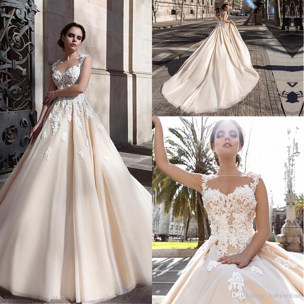 c04e6855ea5 Discount 2017 New Saudi Arabic 3D Floral Appliques A Line Wedding Dresses  Flowers Button Back Chapel Train Elegant Bridal Gowns Vestios De Novia  Bride Gowns ...