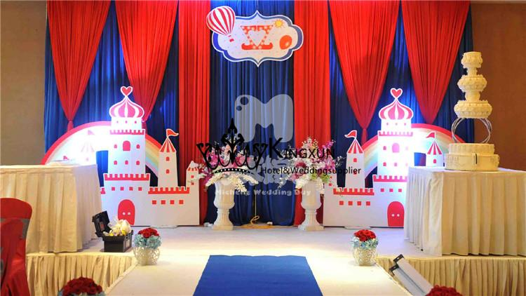 2019 Royal Blue And Red Color Wedding Stage Backdrop Curtain For