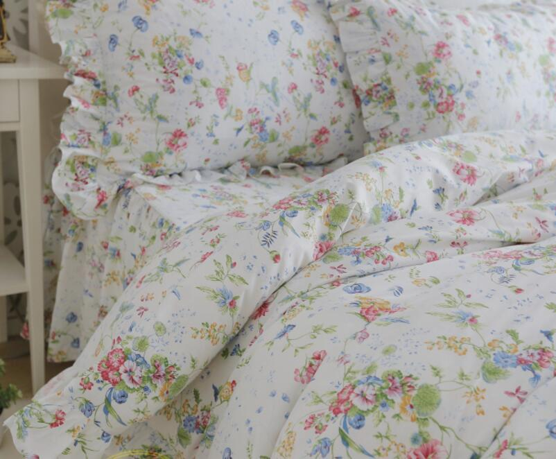 korean princess Blue red and green plant flowers pure ruffles bedding sets quilt cover pillowcase bed skirt style