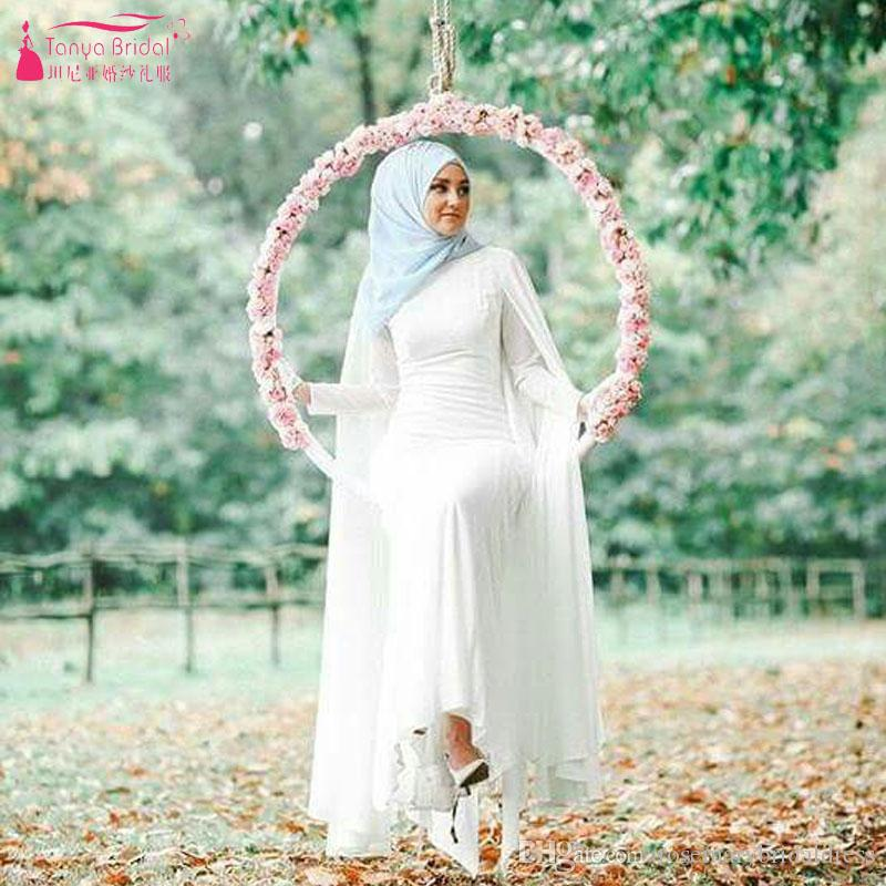 Discount Simple Chiffon Long Sleeve Hijab Wedding Dresses With Wrap ...
