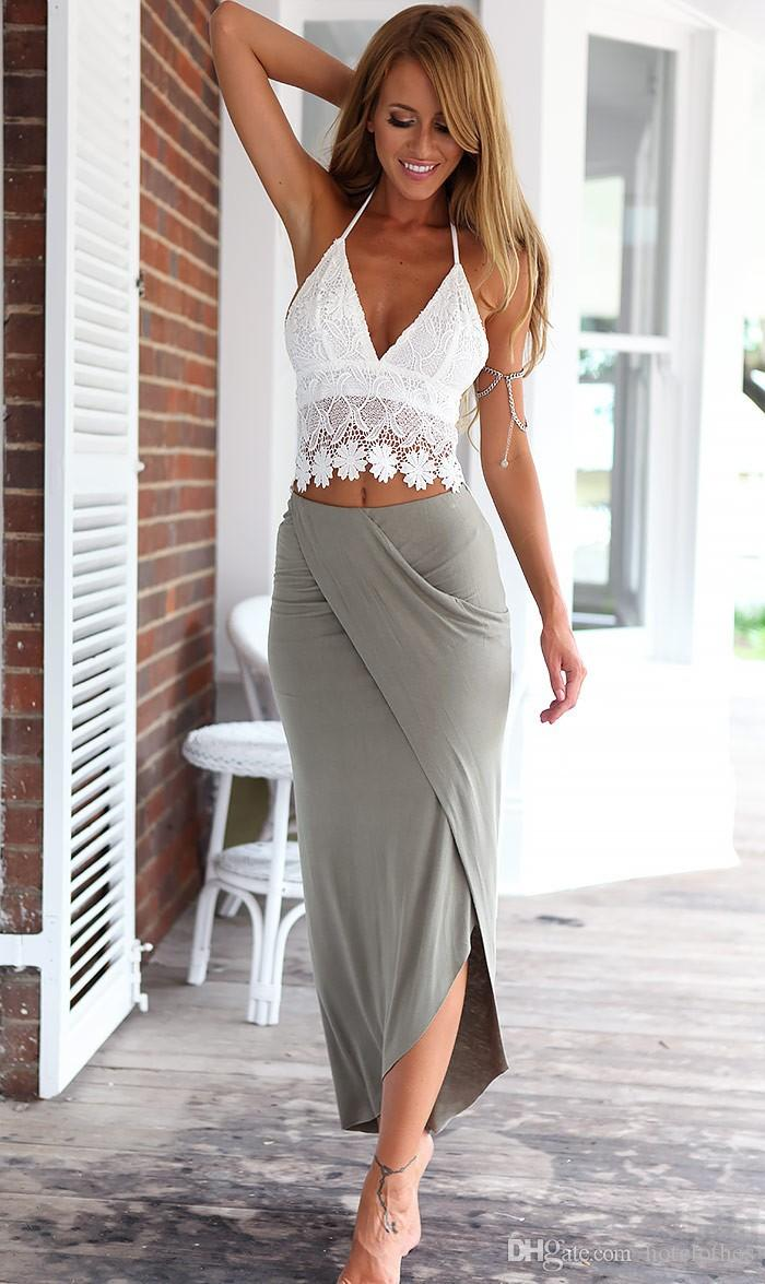 Hot Women Clothes Summer Sexy Two Pieces Clothing Set Women Halter Crop Top + High Waisted Long Pencil Skirt Bodycon Beach Dress Evening Wear Dresses Cute Cocktail Dresses From Hotclothes, $13.31| DHgate.Com