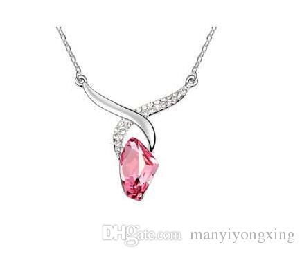 TOP Fashion Teardrop en forme de cristal autrichien pendentif collier clavicule chaîne femmes bijoux