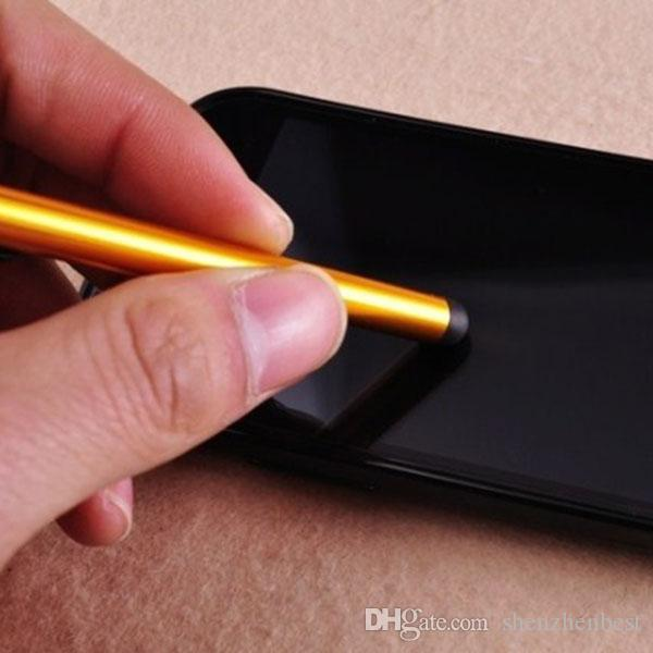 Venta al por mayor 1000 unids / lote Universal capacitiva Stylus Pen para Iphone5 5S Touch Pen para el teléfono celular para Tablet diferentes colores