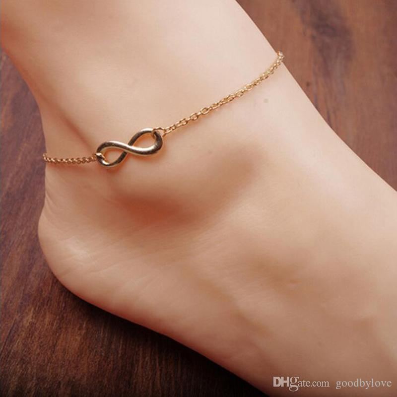 87d313f0822 2019 Foot Jewelry 18K Yellow Or White Gold Plated Plain 8 Shape Infinity  Chain Anklet Bracelet For Women Best Gift From Goodbylove, $1.02 |  DHgate.Com