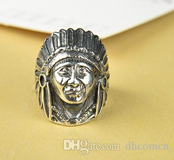 DHL caldo all'ingrosso di vendita calda degli accessori dei monili di stile dei pantaloni a vita bassa punk dell'anello della testa del capo indiano dell'annata Trasporto libero