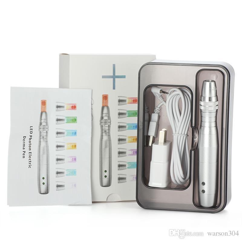 Перезаряжаемые новый фотон LED Derma Pen электрический Miconeedle терапия Dermapen с 7 цветов 5 скоростей с 50шт нано иглы
