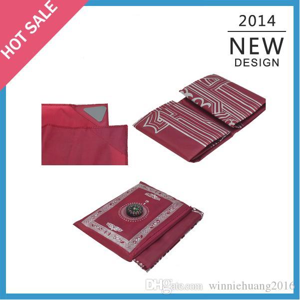 100 teile / los Großhandel Bester Verkauf Reisender islamischer Teppich Tasche Gebetsmatte mit Kompass für muslimische Leutegebete