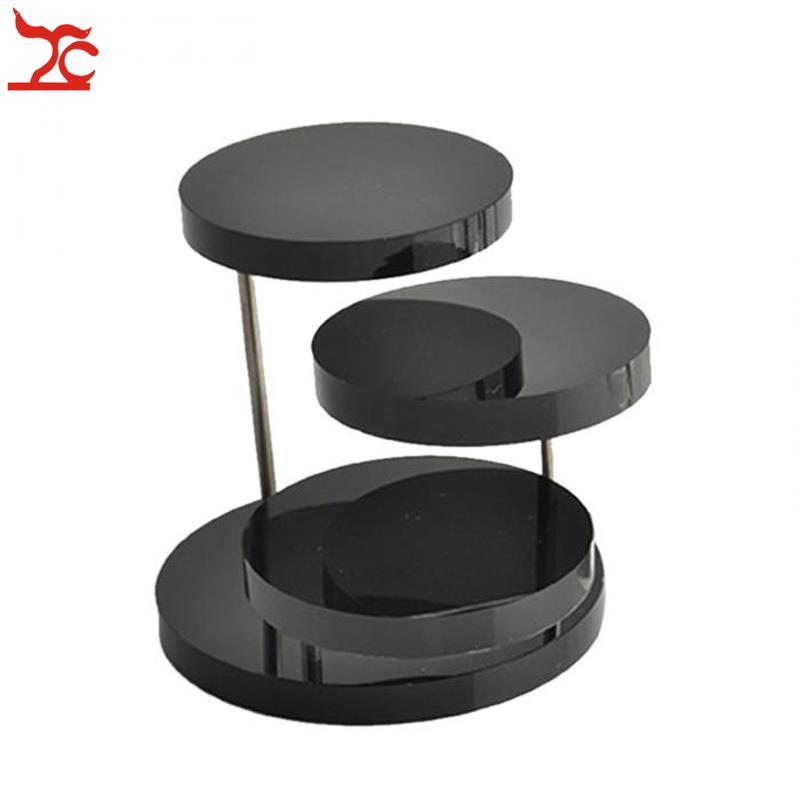 Brand New 3 Layer Clear Black Round Acrylic Jewelry Display Stand Button Necklace Earring Ring Organizer Holder Show Rack Shelf