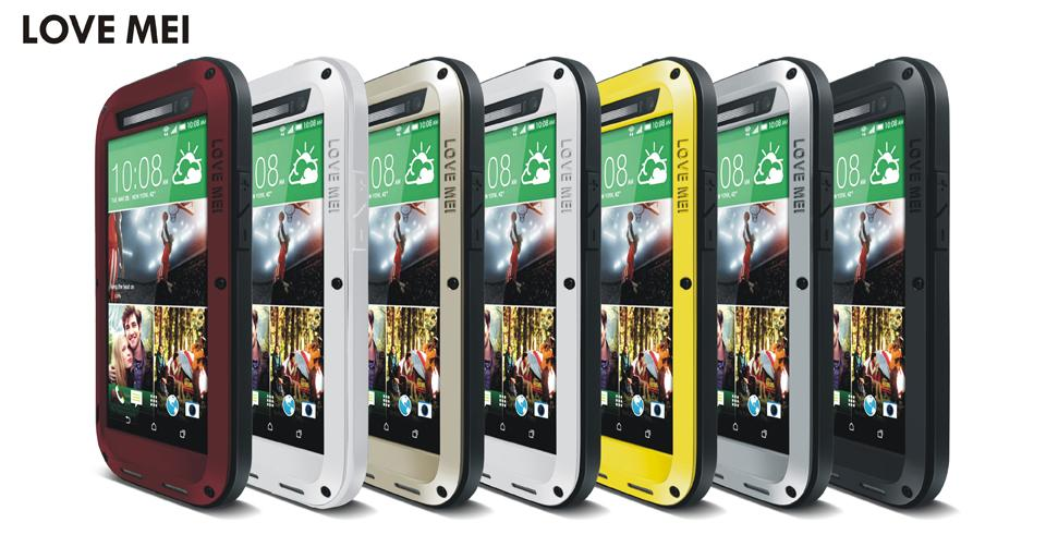 LOVE MEI Shockproof Waterproof Case for HTC One M8 Powerful Heavy Duty Metal Case Cover for HTC M8 Gorilla Glass Protector