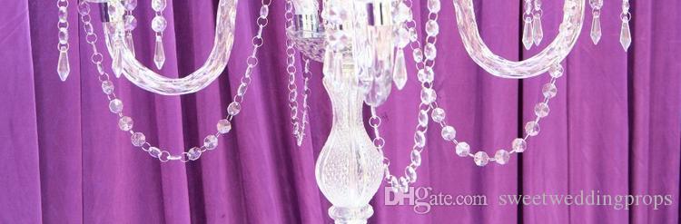 Düğün Centerpieces veya düğün iyilik için Yeni Ürün Kristal 5 Kol Şamdan