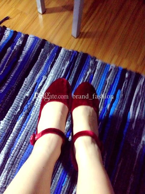 D Rhinestone Jewery Wine Red Black Velvet Pumps Chunky heels Buckle Womens Mary Jane Wedding Party Shoes