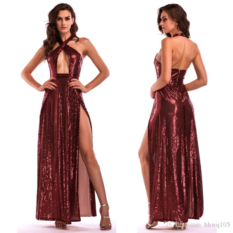 2018 Ladies Sequin Long Prom Dress Backless Halter Sequined Evening ...