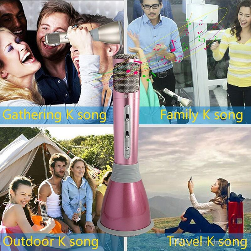 2016 K068 Karaoke Player Wireless Bluetooth Music Condenser Microphone With Mic Speaker KTV Singing Record For Smart Phones Computer
