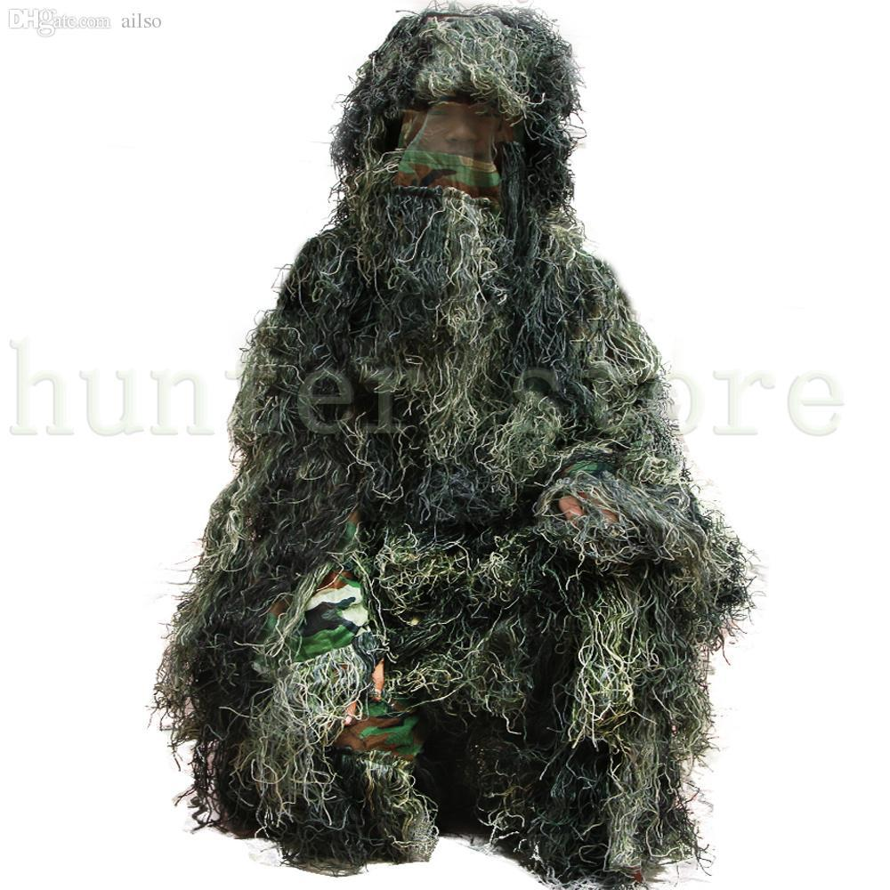 Wholesale-Forest Design Camouflage Ghillie Suit Grass Type Jungle Hunting Birding Woodland Sniper 3D Bionic Camo Suit Outdoor Coveralls