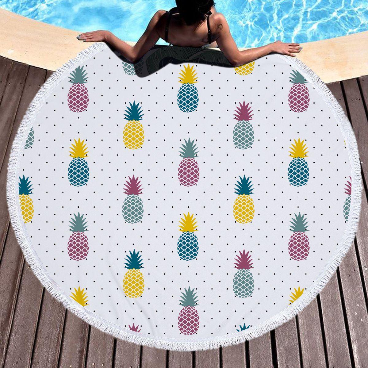 Fruit Pineapple Large Tassel Beach Towel Throw Microfiber Adults ...