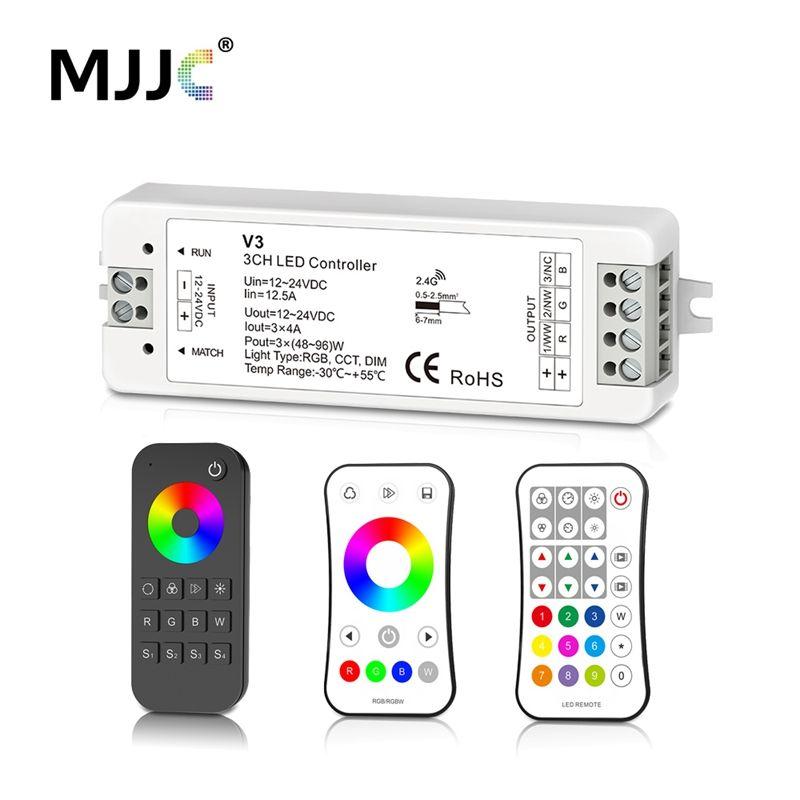 MJJC RGB RGBW Controlador de tira LED RF 12v 24v 2.4G RGBW Control remoto inalámbrico 12 voltios 5 años de garantía