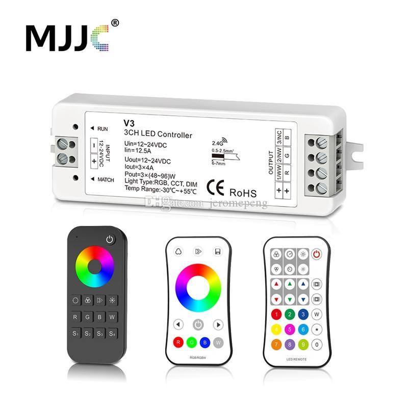 MJJC RGB RGBW LED 지구 관제사 RF 12v 24v 2.4g 무선 RGBW 원격 관제사 12 볼트 5 년 보장