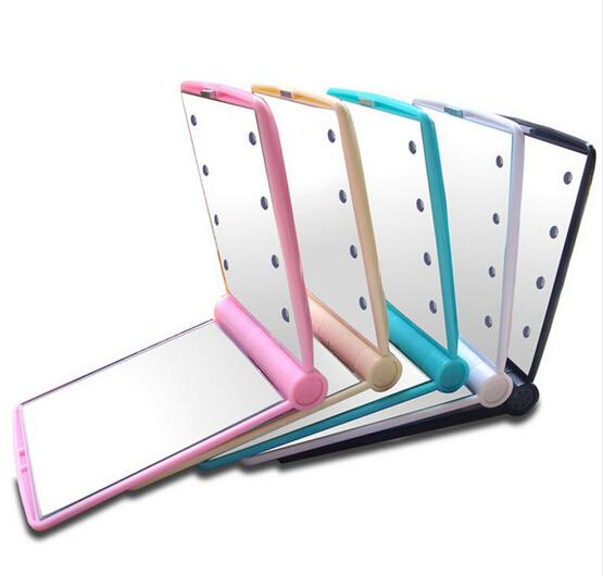 Espejos de maquillaje compacto Mini portátil plegable de mano cosmético Espejo de bolsillo plano con luz LED de 8 muchachas de las mujeres