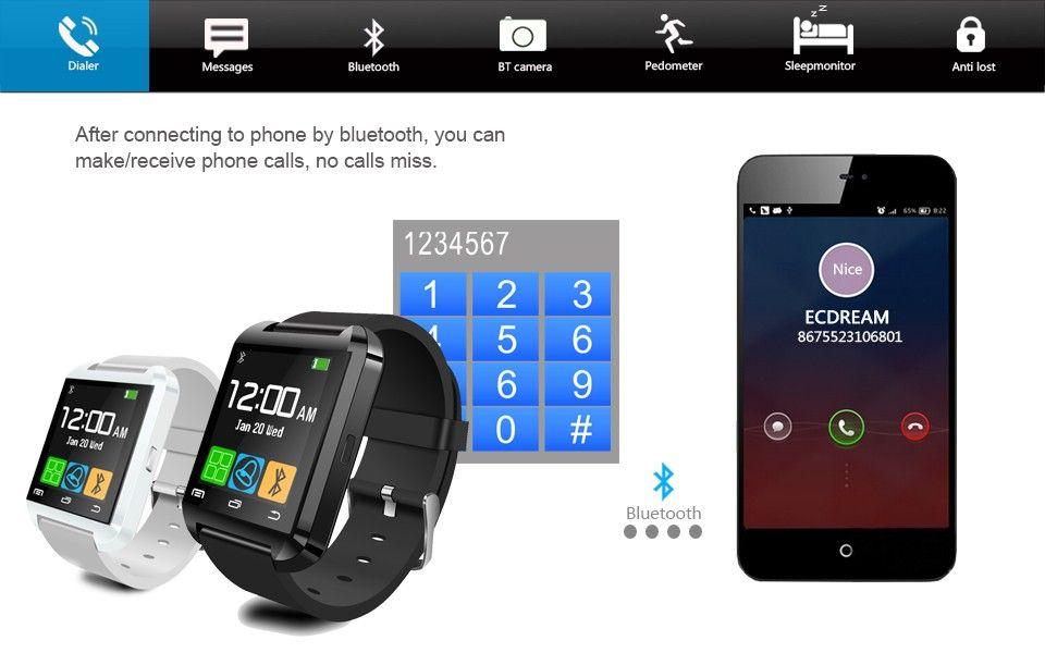 Bluetooth U8 Smartwatch da polso con altimetro iPhone 6 Samsung S6 Nota 5 HTC telefono Android in confezione regalo