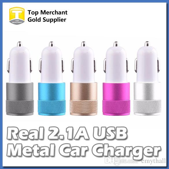 Real 2.1A Metal Dual USB Port Car Adapter Charger Universal 12 Volt 1 2 Amp for Apple iPhone iPad iPod Samsung Galaxy Moto Nokia Htc