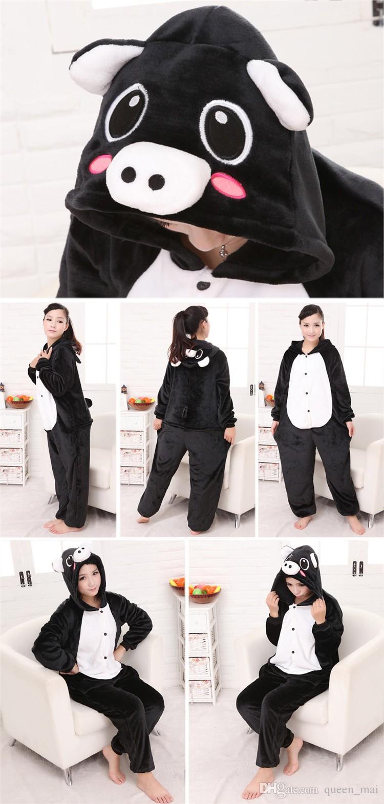 Sevimli Siyah Domuz Onesie Hayvan Kostüm Pijama Pijama Cosplay Pijama Takım Cadılar Bayramı Noel Kız Lady Kadın Erkek Karikatür Hayvan Tulum