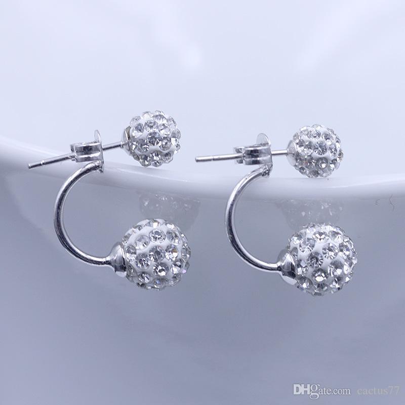 925 Argent Double Boucle face pour femmes Cristal Disco Ball Boucles d'oreilles coréenne fille Bijoux Allergy