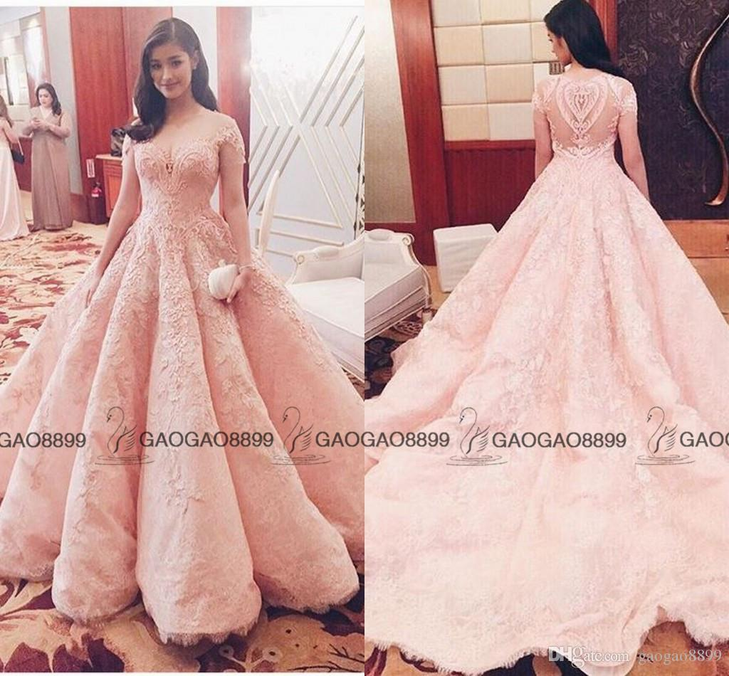 Michael Cinco 2017 Blush Pink Lace Pearls Ball Gown Quinceanera ...
