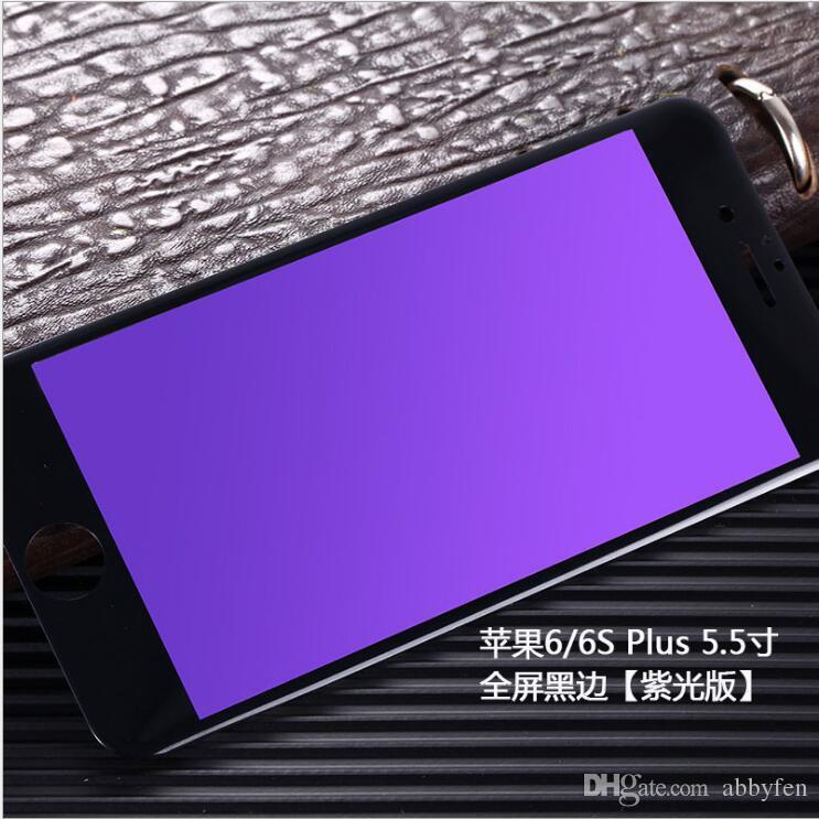 IPhone7 7 artı 6g için 5 s 5c Anti Mavi Işık Filtreleme gözler bakım 9 H 3D Kavisli tam kapak Temperli Cam Ekran Koruyucu ile perakende paket