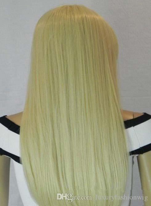 Full Lace Human Hair Wigs All The Bud Silk Wig Gluless Brazilian Girls Braided Hair Blonde Blonde# 613 150 % Density Long Wavelength kabell