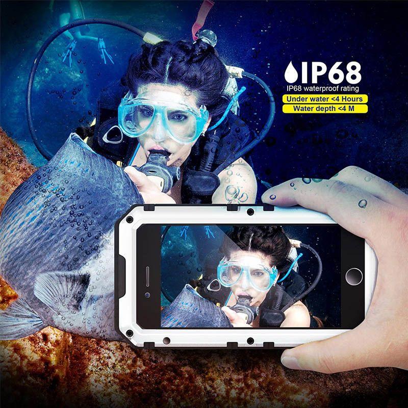 IP68 Luxury doom armor Dirt Shock Waterproof Metal Aluminum alloy phone case For iphone 5 SE 5C 5S 6 6S 7 8 Plus case +Tempered glass