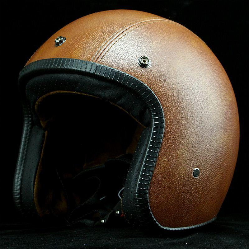 cafe racer harley motorcycle retro leather helmets vintage open