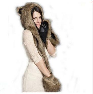 Kadınlar Kız Lady Tasarımcı Sevimli Hayvan Kürk Şapka Hood Eşarp Eldiven Set Kış Kap ile Hayvan Kulaklar Şapka Cadılar Bayramı Noel Hediyesi
