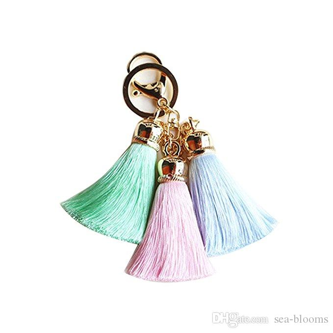 Wholesale Women Fashion Keychain Lovely Mix Color Three Tassel Pendants Key Chains Jewelry Phone Bag Accessory 9 Styles B778Q