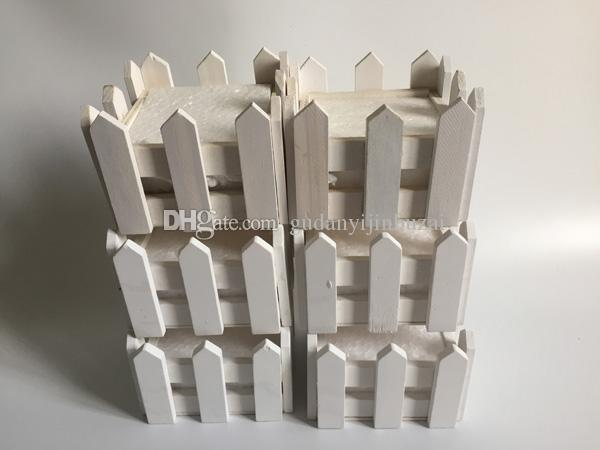 D10*H7CM/D4*H2.8inch White Wooden fence planter Wood Pot Mini Fence Small Fence Home Decoration SF-085