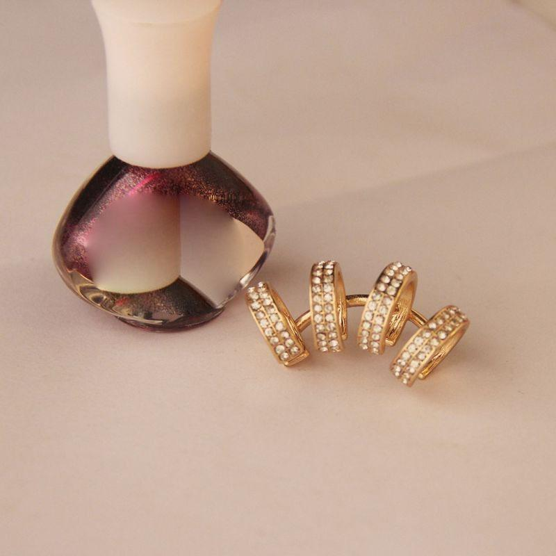 Moda Trendy donne ragazza alla moda punk strass argento / orecchio oro clip del polsino orecchini polsini dei monili