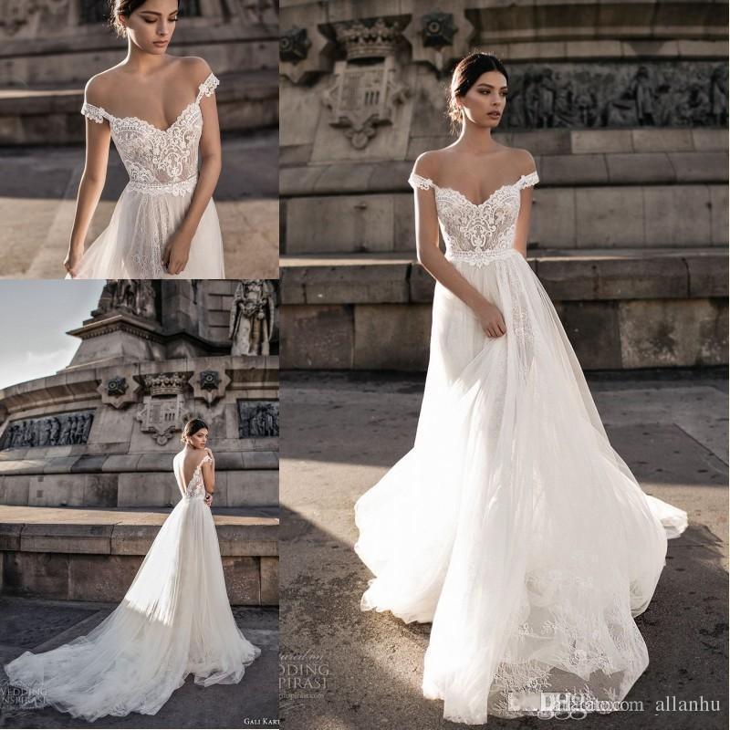 2018 Gali Karten Sheer Bohemian Wedding Dresses Off Shoulder Lace Applique Romantic Tulle Court Train Backless