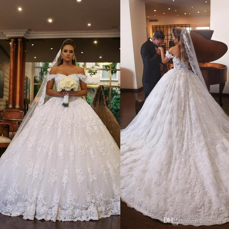 Modest Lace Ball Gown Wedding Dresses Saudi Arabia Off The Shoulder ...