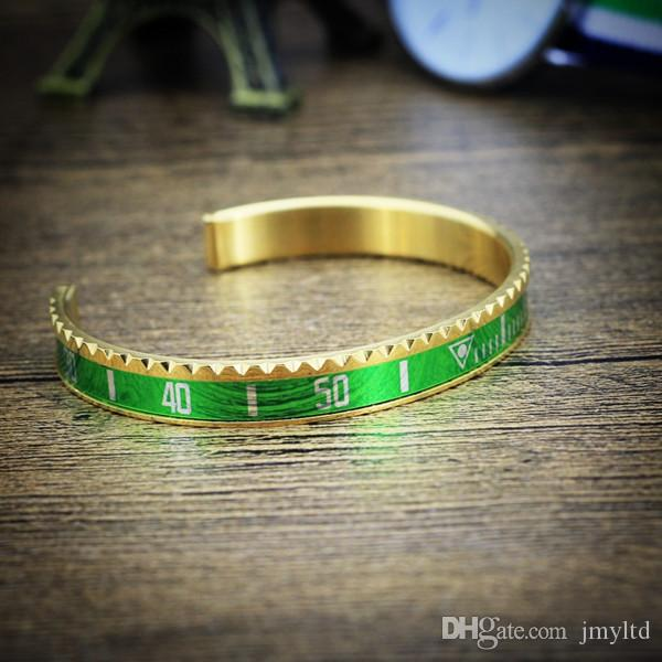 Instagram Hot Sale Speedometer Pattern Figure Half Open Stainless Steel Gear dividing rule Bangle For Young Man