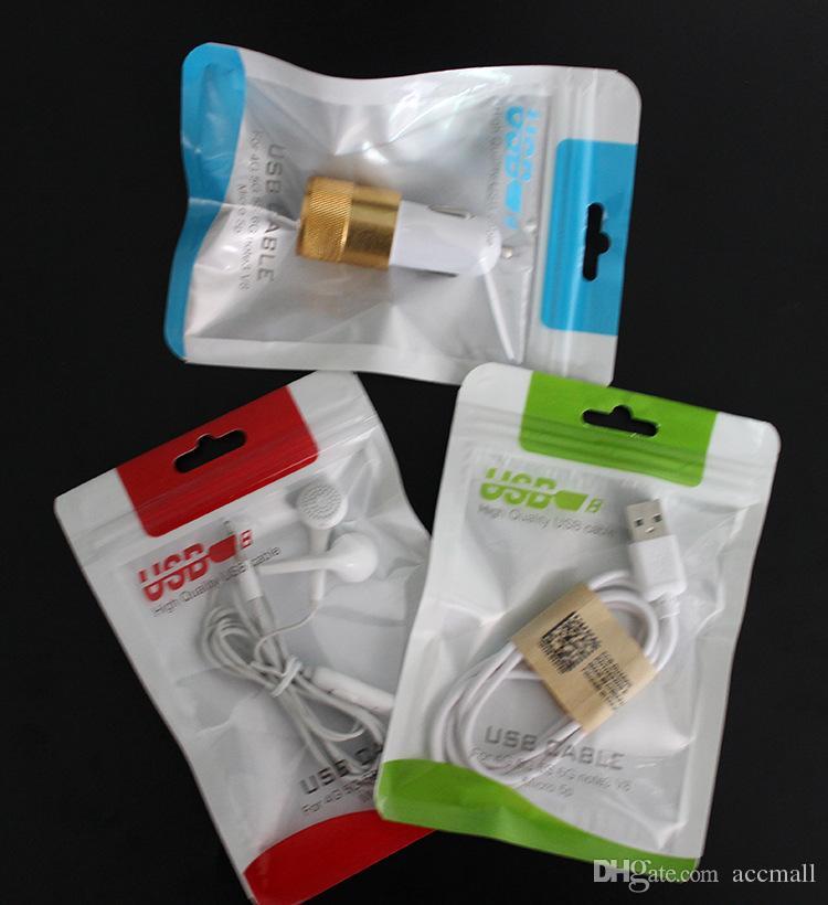Plastica trasparente bianco Poli sacchetto di OPP imballaggio Zipper blocco della confezione Accessori in PVC scatole al minuto Borse USB del telefono delle cellule del cavo caricabatterie da muro Caso