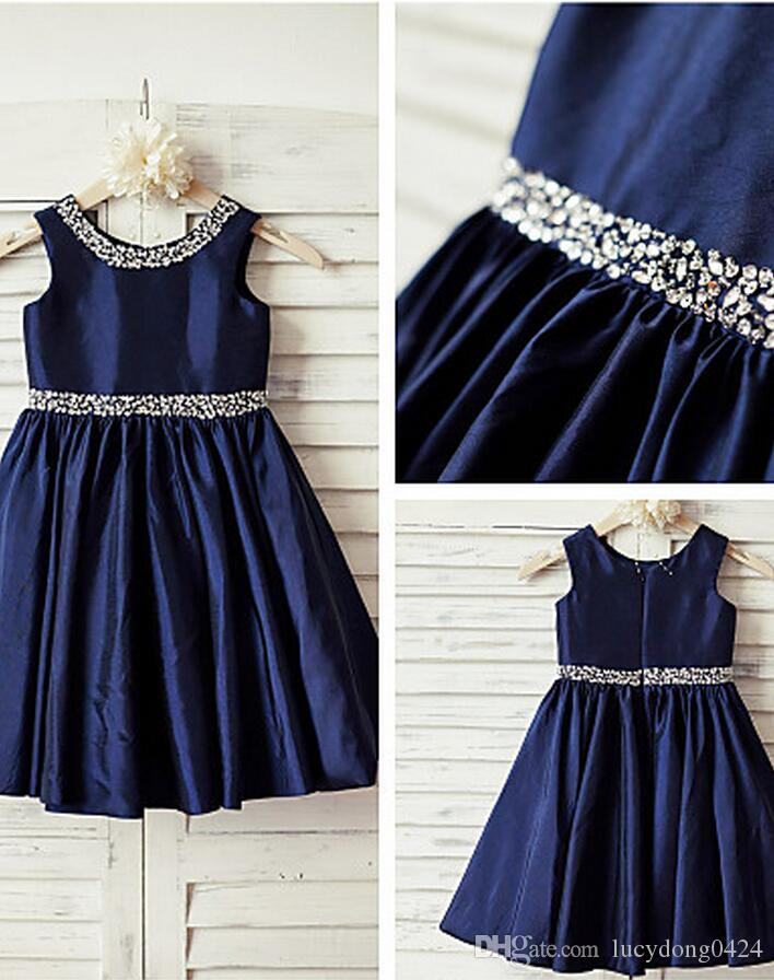 654151e259 2016 Navy Blue Sequin Taffeta Flower Girl Dress Curly Hem Wedding Easter  Junior Bridesmaid Baptism Baby Infant A Line Knee Length Dress Dress Flower  Girl ...