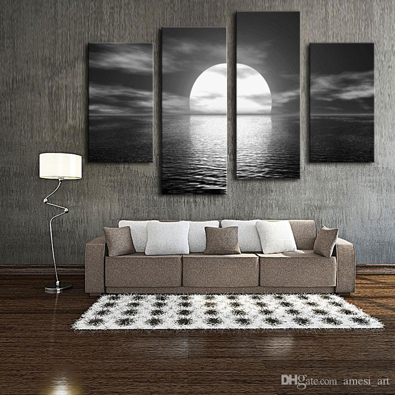 4 Panel Modern Over the Sea the Moon Shines Bright Rainbow Seascape Painting Printed on Canvas of Wall Art with Wooden Framed