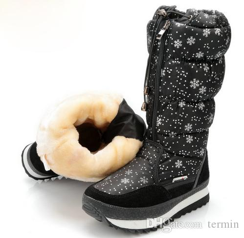 efff0ccfaf Winter Boots Women Shoes Black Knee High Fashion Fabric Girl And Lady Plush  Warm Shoes