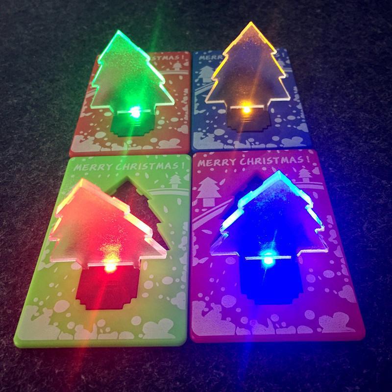 LED Christmas Tree Portable Folding Pocket Credit Card Night Light Table Lamp Xmas Gifts Ornament Adornment Wallet Light Novelty Light