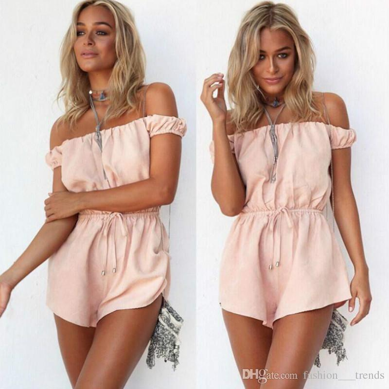 124f9e869a9 2019 2016 Sale Sexy Summer Playsuits Cotton Beach Off Shoulder Elegant  Jumpsuit Romper Peach Color Sexy Playsuit Girls Combishort Overalls S XL  From ...