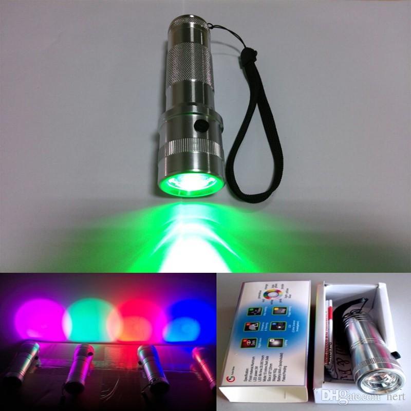 Lampe-torche de lampe-torche changeante de promotion de Colorshine LED RVB, alliage d'aluminium de 3W RVB Edison multi de couleur a mené l'arc-en-ciel de flash de couleur