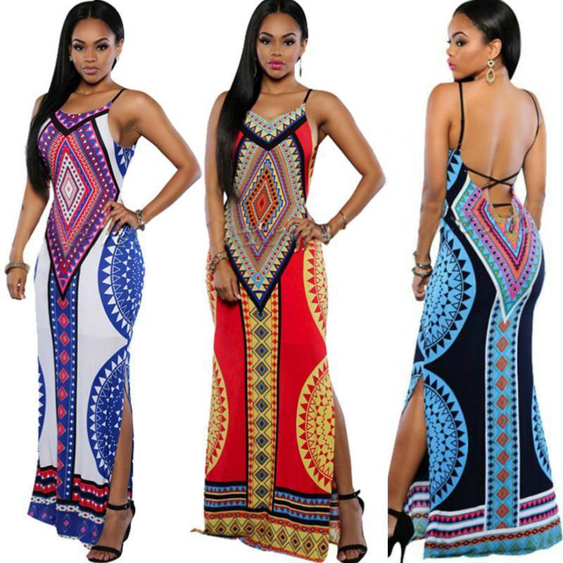 0078e61207a Women Summer Maxi Dress 2016 Bodycon Party Dresses Plus Size Vestidos Sexy  Sundress Backless Bandage Dashiki Boho Long Dress Casual Vintage Green  Dresses ...