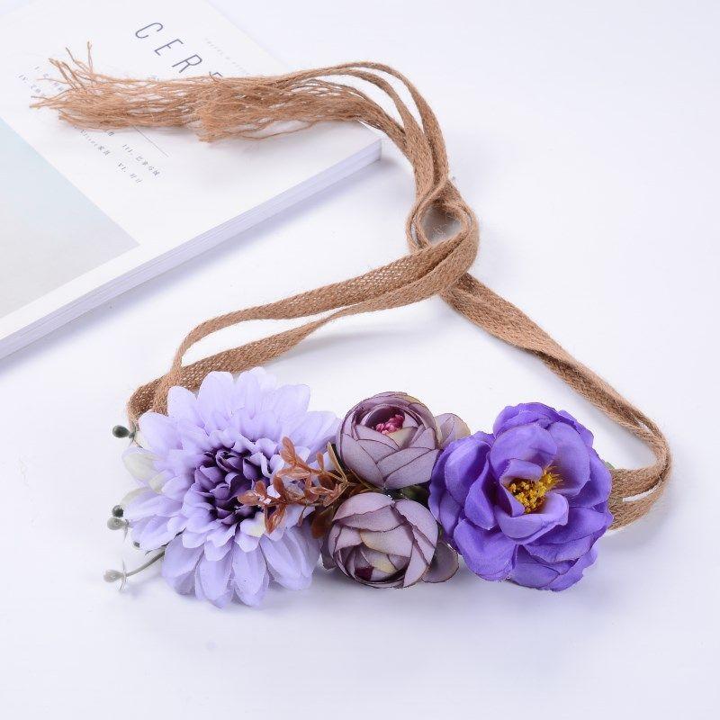 Flower Wreath Beach Hair Styling Tools Cloth Boho Floral Flower Leaf Hairband Headband for Party Bride Wedding