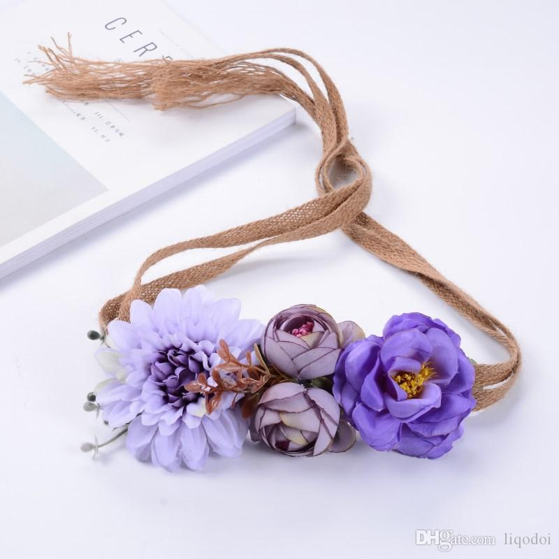 Grinalda da flor Ferramentas de Estilo de Cabelo de Praia Boho Floral Flor Folha Hairband Headband para a Festa de Casamento Da Noiva